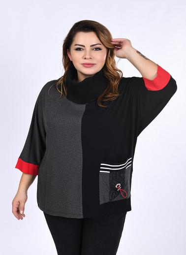 WHIP Design Parça Desenli Degaje Yaka Uzun Kol Viskon Tunik Siyah